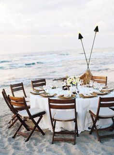 {Sunset beach dinner.}