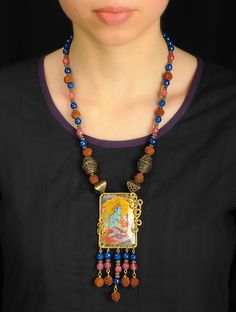 Buy Multicolor Vishnupriyam Necklace Pendant : PET Plastic Bottle and Brass wire Panch Mukhi Rudraksh Agates Focals beads Jewelry Fashion Going Green Upcycled Necklaces Earrings Online at Jaypore.com