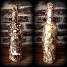 Tutkal çatlatma Tutkal kağıt doku ayakkabı boyası İle eskitme şişe tasarımı / Glue crakle and Shoe polish antiquing Bottle art