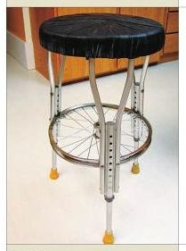 Nobody wants old crutches unless you can't walk without 'em, so why not recycle them into a sturdy bar stool using a bicycle wheel for stability? RePurpose, Upcycle, Salvage! For ideas and goods shop at Estate ReSale & ReDesign, in Bonita Springs, FL