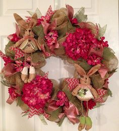 Hey, I found this really awesome Etsy listing at https://www.etsy.com/listing/182249905/country-easter-bunny-wreath