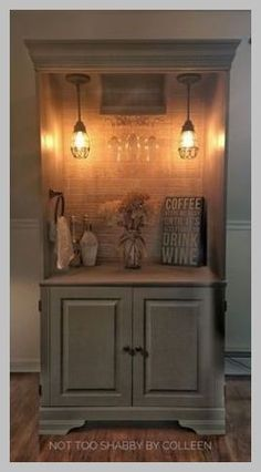 Repurposed wardrobe armoire converted to a lighted dry bar - by Not Too Shabby b. Repurposed wardrobe armoire converted to a lighted dry bar - by Not Too Shabby by Colleen, Refurbished Furniture, Wicker Furniture, Repurposed Furniture, Furniture Projects, Furniture Makeover, Home Projects, Painted Furniture, Diy Furniture, Bedroom Furniture