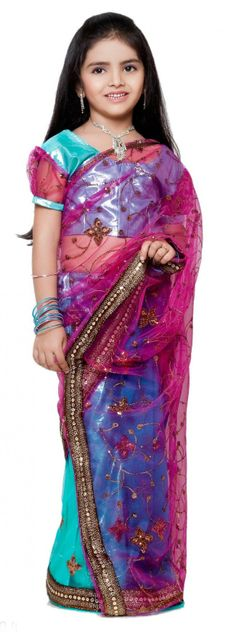 For YOUR Little Princess - Pre-Stitched Ethnic Indian Sarees - Buy ANURAGINI - Sky Blue and Pink Net and Shimmer Half and Half Ready made Girls Saree Online - Girls Clothings - 10kya.com Kids Store Rs. 1499, USD 28, Shipped Globally