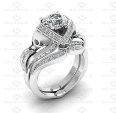 Picture of 'Aphrodite' 2.10ct All White Diamond Skull Sterling Silver Bridal Set