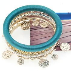 Stylish Wave Cloth Charm Blue Bracelets for Women