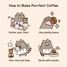 How to Make Purrfect Coffee - Pusheen Sweet Drawings, Kawaii Drawings, Logo Gato, Pusheen Coloring Pages, Pusheen Stormy, Pusheen Love, Cat Character, Kawaii Cat, My Spirit Animal