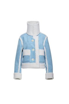 Off White Faux Fur Shearling Blue Suede Reversible Jacket Standing Or Folded Collar Large Buttons Double Patch Pockets And Double Side Pockets