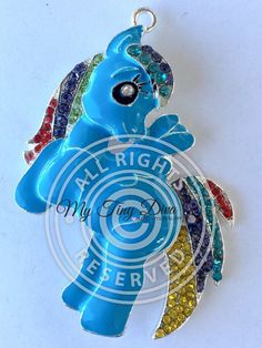 52mm rhinestone pendant rainbow pony inspired by MyTinyDiva