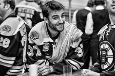 Patrice Bergeron Boston Bruins - thought he had a glass of milk. Lol