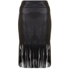 Black Fringe Leather Look Pencil Skirt ($31) ❤ liked on Polyvore featuring skirts, mid calf pencil skirt, knee length pencil skirt, fringe skirt, zipper pencil skirt and midi skirt