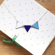 Colourful Bunting Necklace in Blue and White  by iamrachelshop