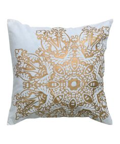 Take a look at this Gold Lace Print Pillow by Rizzy Home on #zulily today! $18 !!