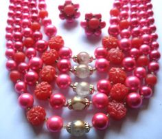 5 Tier Vintage Raspberry Glass Molded Plastic Japan Necklace Earrings | sagerosesattic - Jewelry on ArtFire