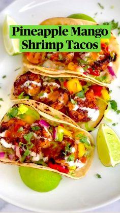 Fish Recipes, Seafood Recipes, Mexican Food Recipes, Cooking Recipes, Healthy Mexican Food, Pepper Recipes, Healthy Shrimp Tacos, Healthy Shrimp Recipes, Salads