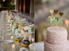 teal gold cake toppers - photo by Katherine Stinnett Photography - via http://ruffledblog.com/guanacaste-destination-wedding