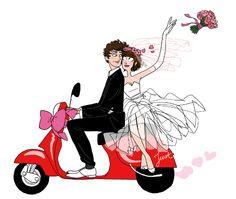 Digi stamp - Wedding - Just Married Moto Illustration Vespa, Wedding Illustration, Graphic Illustration, Illustrations, Wedding Album, Wedding Cards, Desenho Pop Art, Motorcycle Wedding, Samantha Images