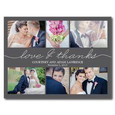 Lovely Writing Wedding Thank You Card - Gray Postcard.  $1.00