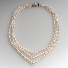 Mikimoto Three Strand Graduated Pearl Necklace Sterling Clasp
