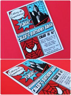 Spiderman party invites -- thanks Pinkadot shop!