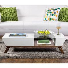 Furniture of America Kress Glass Insert Mid-century Style Coffee Table