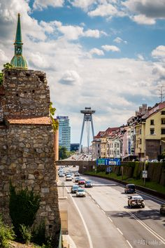 New Bridge or Bridge of the Slovak National Uprising (Most SNP or simply UFO Bridge) over Danube river in the capital of Slovakia - Bratislava city viewed from Starometska street