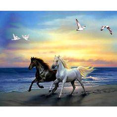 "Full Drill Square/Round Diamond DIY Diamond Painting""Run the horse""Diamond Em. - Full Drill Square/Round Diamond DIY Diamond Painting""Run the horse""Diamond Embroidery Cross - Painted Horses, Two Horses, White Horses, 5d Diamond Painting, Cross Paintings, Easy Paintings, Horse Pictures, Horse Art, Beautiful Horses"