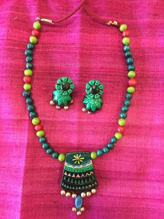 Ethnic Handmade Terracotta Jewelry, Clay Necklace Set - Green & Black