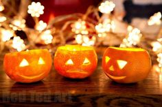 Clementine or Satsuma Mini Jack O'Lanterns. Oh how the kids will aodre these!