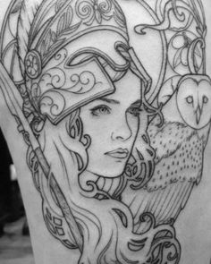 New art nouveau tattoo owl Ideas Athena Tattoo, Medusa Tattoo, Aphrodite Tattoo, Tattoo Owl, Greek Goddess Tattoo, Greek Mythology Tattoos, Art Nouveau Tattoo, Body Art Tattoos, Sleeve Tattoos