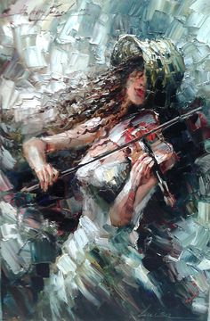 Andrey Figol - gallery of works, the paintings of Andrey Figol Music Painting, Art Music, Peony Painting, Music Drawings, Art Drawings, Violin Art, Cello, Fantastic Art, Portrait Art