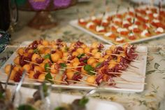 https://flic.kr/p/a9ZedL | Elegant Finger Food | <b>Center:</b> Small Cantaloup Balls Skewered with paper thin prosciutto and fresh basil from my garden.  <b>Background:</b> Mini Smoked Salmon, Crème Fraiche, & fresh Dill Blinis.  <b>Foreground:</b> Yes, the little Lamb Kofta Verrines!