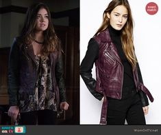 Aria's purple leather jacket on Pretty Little Liars.  Outfit Details: http://wornontv.net/45661/ #PLL
