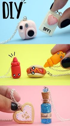 craft gifts for friends bff ~ craft gifts for friends ` craft gifts for friends creative ` craft gifts for friends easy diy ` craft gifts for friends cute ideas ` craft gifts for friends bff Bff Necklaces, Friendship Necklaces, Friendship Gifts, Friend Friendship, Polymer Clay Kawaii, Polymer Clay Charms, Diy Kawaii, Kawaii Crafts, Cute Clay