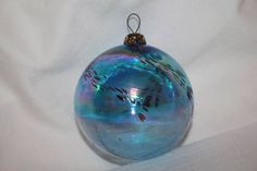 Hand Blown Glass Christmas Orb Ornament Ball Blue Purple Gold Rainbow Colors Thicker Glass Brass Ornate Filigree Cap and metal hook Swirl Gift Jars, Jar Gifts, Christmas Tree Themes, Christmas Bulbs, Holiday Decor, D1, Purple Gold, Hand Blown Glass, Rainbow Colors