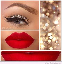 Weihnachtsliste Teen Girl 2017 Make-up - Makeup Ideen Gorgeous Makeup, Pretty Makeup, Love Makeup, Red Makeup, Amazing Makeup, Makeup Looks With Red Lips, New Year's Makeup, 2017 Makeup, Gorgeous Gorgeous