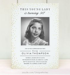 Old Photo Sparkle Surprise Birthday Party Invitations - 40th, 50th, 60th, 70th, 80th