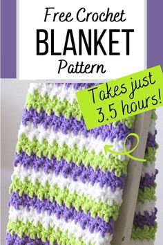 Crochet Baby Blanket Free Pattern, Easy Crochet Blanket, Quick Crochet, Chunky Crochet, Afghan Crochet Patterns, Free Crochet, Crocheted Afghans, Crochet Stitches For Blankets, Crochet For Beginners Blanket