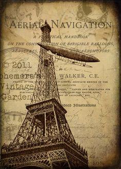 Flying Over Paris 5 x 7  Printable Wall Decor  by EphemerasGarden, $3.55