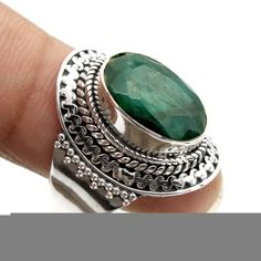 Bali Style Sakota Mine Emerald Ring 925 Sterling Silver Jewelry Size us Sterling Silver Name Necklace, Silver Pendant Necklace, Silver Earrings, Onyx Necklace, Garnet Necklace, Geeks, Vintage Style Engagement Rings, Steampunk, Engraved Rings