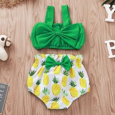 US Newborn Infant Baby Girl Clothes Crop Vest Top Pineapple Shorts Summer Outfit Cute Baby Girl Outfits, Baby Outfits Newborn, Baby Girl Dresses, Baby Girl Newborn, Baby Dress, Baby Baby, Baby Kids Clothes, Baby & Toddler Clothing, Toddler Outfits