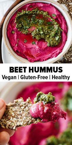 Recipes Snacks Appetizers Beet hummus is made with oven roasted beets, chickpeas, tahini, olive oil, lemon juice and garlic. It's a vibrant and healthy snack or appetizer recipe. Appetizer Salads, Appetizer Recipes, Snack Recipes, Smoothie Recipes, Healthy Vegan Snacks, Healthy Eating, Healthy Recipes, Real Food Recipes, Vegetarian Recipes