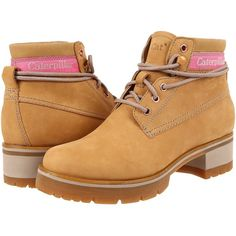 Caterpillar Casual Stopwatch (Honey Reset) Women's Lace-up Boots ($80) ❤ liked on Polyvore featuring shoes, boots, ankle boots, beige, leather ankle boots, lace up bootie, laced ankle boots, short lace up boots and caterpillar boots