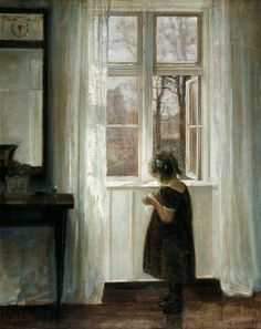 Little girl at a window, Carl Holsoe. Danish (1863-1935)    (Source: poboh, via icameisawiconquer)