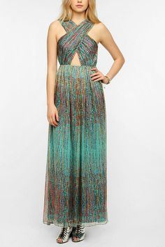 Sparkle & Fade Chiffon Cutout Front Maxi Dress