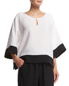 3/4-Sleeve Contrast-Trim Linen Tunic, White/Black, Size: 1/10-12 - eskandar