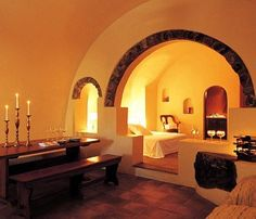Dome-Architect-Traditional-Hotel-Livingroom-Tiles-Built-Wooden-Furnitures-Relaxation-Santorini