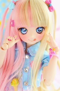 You are soo kawaii! Kawaii Doll, Anime Kawaii, Anime Chibi, Pretty Dolls, Beautiful Dolls, Ooak Dolls, Blythe Dolls, Cute Cartoon Girl, Anime Figurines