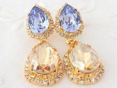 Champagne and bright blue Chandelier earrings, Bridal earrings, 14k Gold earrings, Dangle earrings, Drop earrings, Rhinestone earrings
