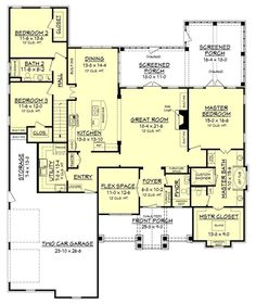 Craftsman Style House Plan - 3 Beds 2.50 Baths 2597 Sq/Ft Plan #430-148 Floor Plan - Main Floor Plan - Houseplans.com
