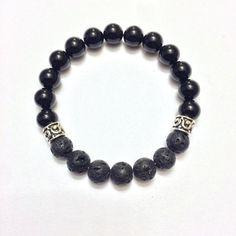 Guidance - Men's Genuine Sterling Silver Lava Beads & Black Onyx Bracelet - Positive Energy